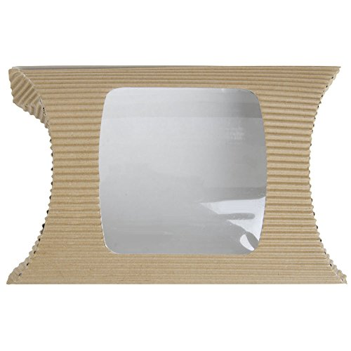 Savori? Tan Cardboard Square Hot Pillow Pack With Plastic Window - 7 7/8''L x 5 7/8''W x 2 1/8''H by Hubert