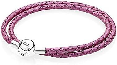 PANDORA - Double Bracelet en cuir tresse Rose Chèvrefeuille ...