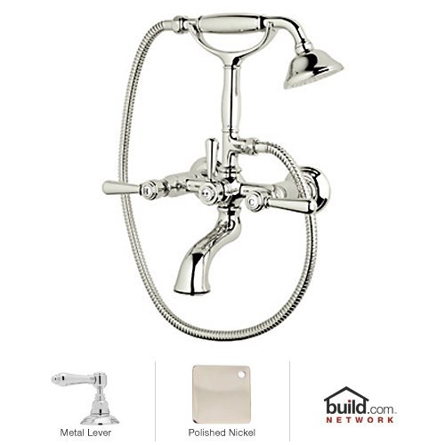 Exposed Collection Tub (Rohl A2701LMPN A2701Lm Verona Triple Handle Exposed Tub Filler Faucet Wall Mounted, Polished Nickel)