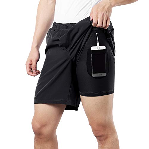 BERGRISAR Heren 7″ Active Running Shorts 2 in 1 met telefoon Pocket BG600