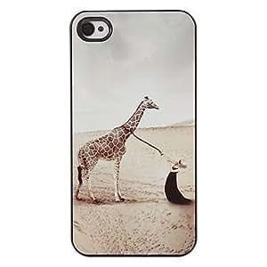 Belleza y modelo de la jirafa PC caso duro con 3 Almuerzos Protectores HD de pantalla para iPhone 4/4S