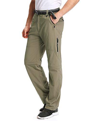 (Mens Hiking Pants Adventure Quick Dry Convertible Lightweight Zip Off Fishing Travel Mountain Trousers #M1111/Khaki/US 30 )