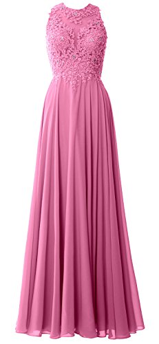 MACloth Elegant High Neck Long Prom Dress Lace Chiffon Formal Party Evening Gown Rosa