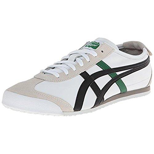 Onitsuka Tiger Mexico 66 Fashion Sneaker, White/Black/Green, 12 M Men's US/13.5 Women's M US