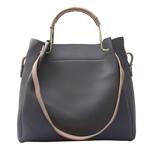 Damen Einfach Handtasche Schultertasche Tasche Large Umhängetasche Shopper Henkeltasche Rauchfarben Rauchfarben