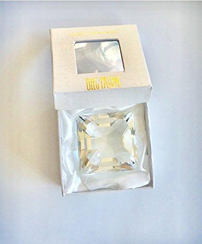 (Oleg Cassini Diamond Asscher Crystal Paperweight - Small Size )
