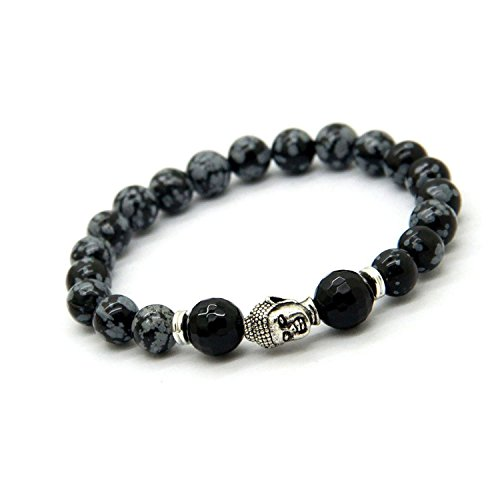 Young & Forever Men's D'Vine Collection Onyx Snowflake Obsidian Wrist Bracelet by Young & Forever