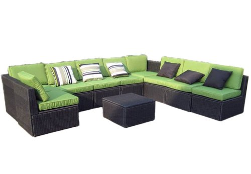 gartenm bel 10tlg sitzgruppe poly rattan lounge garten garnitur gr n g nstig bestellen. Black Bedroom Furniture Sets. Home Design Ideas