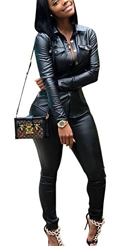 Molisry Womens Club Faux Leather 2 Piece Outfits Long Sleeve Button Jacket Long Pants Jumpsuit Rompers Plus Size