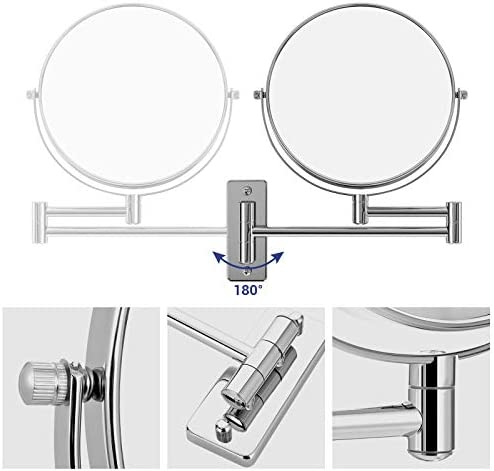 SONGMICS 10x Magnification Mirror, 360° Swivel Bathroom Shaving Mirror, Wall Mounted Round Cosmetic Vanity Mirror, 20 cm Double Sided, Folding Arm, Stainless Steel, BBM001