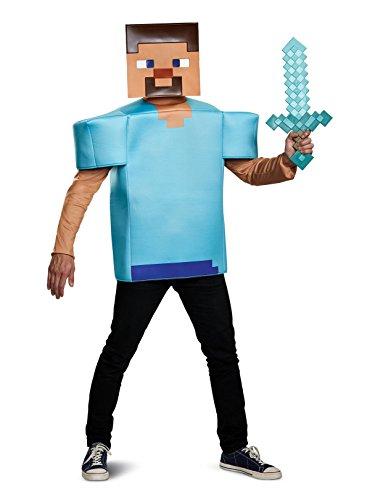 Minecraft Steve Halloween Costume (Disguise Men's Steve Classic Adult Costume, Turquoise, One)