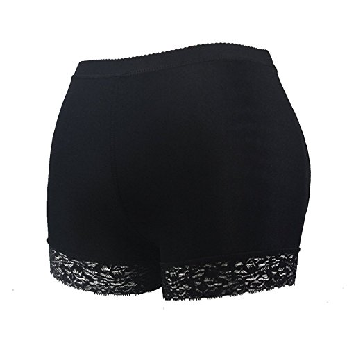 HelloTem Women Lace Padded Seamless Butt Hip Enhancer Shaper Panties Underwear, Black, (US Size 4-6) - Costume Kim Kardashian