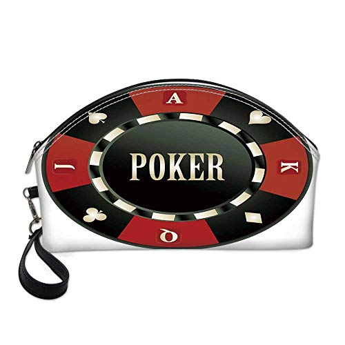 Poker Tournament Small Portable Cosmetic Bag,Casino Chip with Poker Word in Center Rich Icon Card Suits Decorative For Women,One size