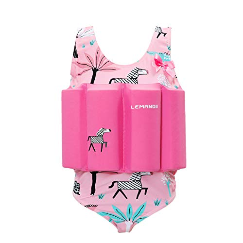 (Zerlar Floatation Swimsuits with Adjustable Buoyancy for 1-10 Years Baby Girls (Pink Zebra, Height:31.5''-35.4''/ Weight:19.8-26.4lb))