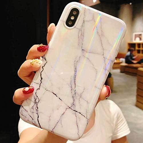 Herbests Kompatibel mit iPhone XS/iPhone X Hülle Marmor Weich Silikon Handyhülle Bling Glitzer Sparkle Glänzend Bunt Schutzhülle Crystal Ultradünn TPU Bumper Tasche Case,Weiß