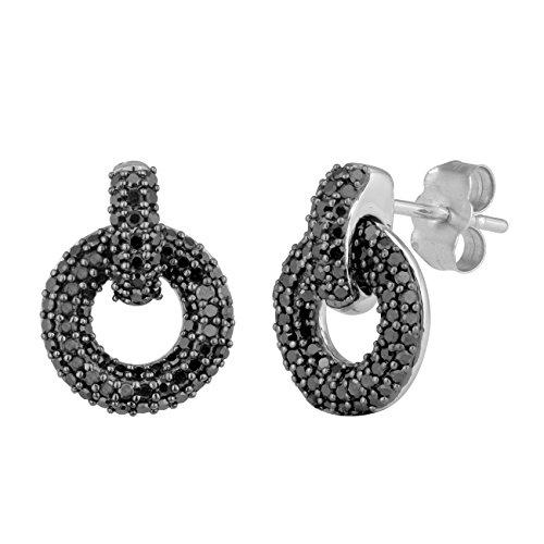 Jewelili femme  9carats (375/1000)  Or blanc #Gold Rond   Noir Diamant