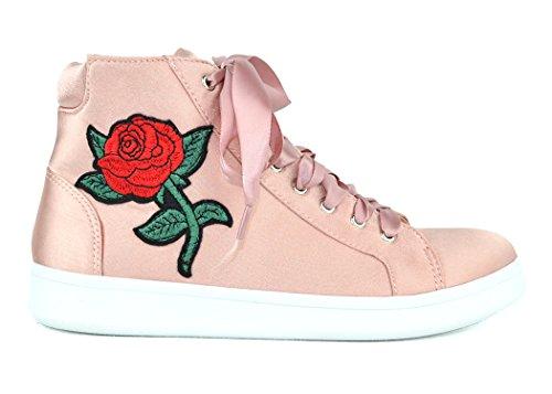 Chase & Chloe Celine-5 High-end Damesmode Sneaker Met Veters En Borduurmotief Mauve