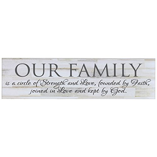 LifeSong Milestones Our Family is A Circle of Strength Decorative Wall Sign for Living Room entryway, Kitchen, Bedroom,Office, Wedding Ideas (Distressed White Plank)