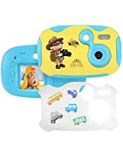 "Tyhbelle DIY Kamera für Kinder mit Aufkleber Digital Kamera 1.44"" Bildschirm Mini Kids Camera Kinderkamera inkl.USB Kabel in Blau und Pink (Pink)"