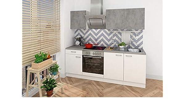 Respekta - Bloque de cocina empotrable para esquina de cocina, 210 cm, color blanco, hormigón óptico, incluye Softclose - Placa de cocción: Amazon.es: Grandes electrodomésticos