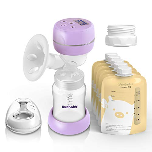 Electric Breast Pump, Portable Milk Pump Breastfeeding with Massage Mode and Adjustable Suction Pumping Levels for Mom's Comfort, Voice Guide LCD Display USB Charging, BPA Free Food Grade (Violet)