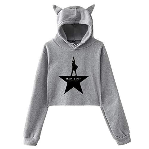 Star Hamilton (Women's Cat Ear Hoodie Sweater Music Of Alexander Hamilton Star Hoody Gray XL)