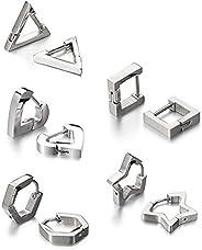 5 Pair Fashion Triangle Unisex Punk Rock Stainless Steel Men Women Ear Stud Earrings Pierced Ear Plug