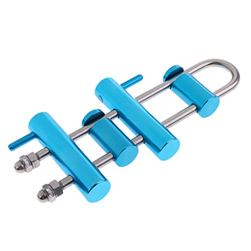 MagiDeal Aluminum Alloy Rock Climbing Rack Descender Rappelling Descending Gear 4 Bar Blue ()