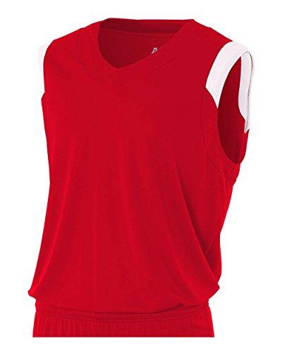 A4 Sportswear Scarlet/White Youth Medium Moisture Management V-Neck Muscle (Blank) Uniform Jersey Top