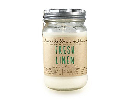 - 16oz Fresh Linen Natural Eco-Friendly Hand-Poured Soy Wax by Silver Dollar Candle Co.