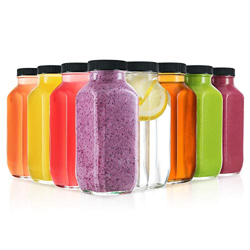 (8 Ounce Glass Drink Bottles, Pack of 8 Glass Water Bottles with Lids, Great for storing Juices, Smoothies, beverages, Kombucha and More, Quality Material - Dishwasher Safe (8 Pack))