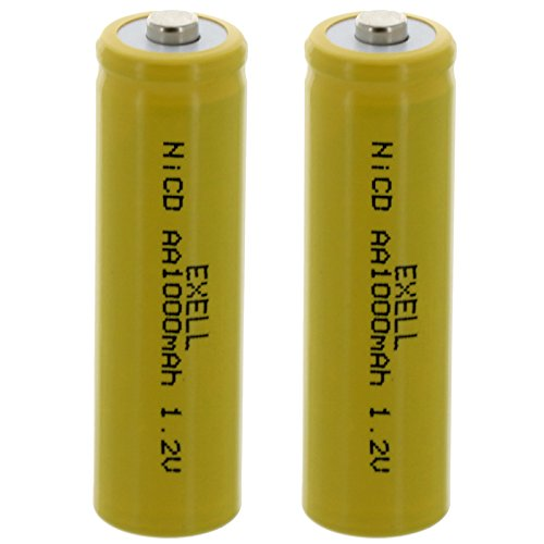 (2-PACK) Exell AA 1.2V 1000mAh NiCD Button Top Rechargeable Batteries For Intermatic Solar Garden Lights, Malibu Solar Garden Lights, Stake Lights, LED Lawn Lights