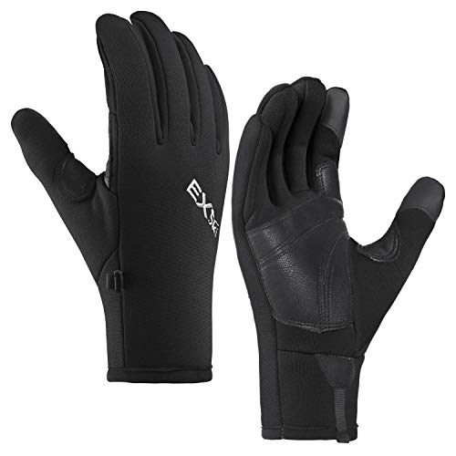 MCTi Winter Touchscreen Gloves Warm Fleece Lining Goatskin Leather Palm Mens Womens Gloves for Hiking Driving Running