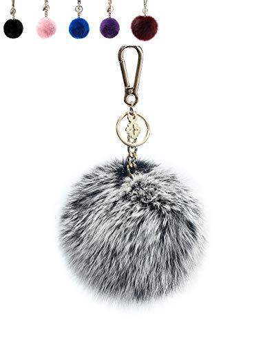 - Pom Pom Keychains for Women by Miss Fong,Cute Keychain,Puff Ball Key Chain Women,Bag charms for Handbags Fur Ball in Fox Fur (Grey-Large)
