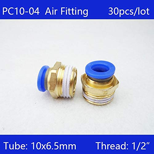 Ochoos 30pcs BSPT PC10-04, 10mm to 1/2' Pneumatic Connectors Male Straight one-Touch Fittings