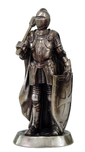 7 Inch Armored Medieval Knight with Weapon Resin Statue ()