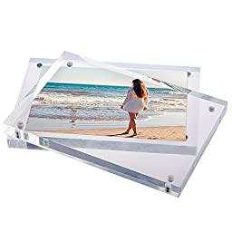 4x6 Clear Acrylic Picture Frame - Double Sided Magnetic Acrylic Photo Frames - Desktop Only - 1-Year Warranty by American Lifetime (1 Pack)