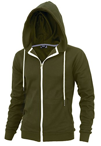 Delight Men's Fashion Fit Full-Zip Hoodie With Inner Cell Phone Pocket (US Large, (Inner Pocket)