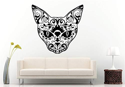 Quote Vinyl Wall Decal Sticker Art Removable Words Home Decor Art Home Decor Sugar Skull Design Animal Cat Head Halloween Room Decor