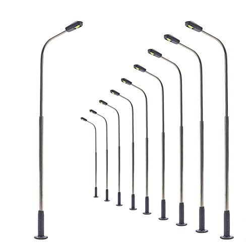 LQS07WM 10pcs Model Railway Train Lamp Post Street Warm White Lights HO TT Scale LEDs New