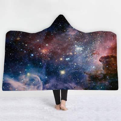 Galaxy Wool Sweater - Richg 3D Print Star Galaxy Printed Plush Hooded Sweater Adult Child Warm Wearable Wool Woman Throw Blanket Microfiber Cloak-Color-6-130150cm1pcs