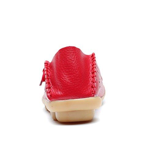 MORNISN Damen Leder Lace-up Casual Schuhe Flache Driving Loafers Rot (Blumen)