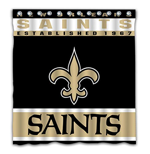 Potteroy New Orleans Saints Team Design Shower Curtain Waterproof Polyester Fabric 66x72 Inches ()