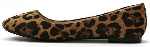 Scarpa Piatta Da Donna Walstar Stile Moda Punta Rotonda In Pelle Scamosciata Leopardo