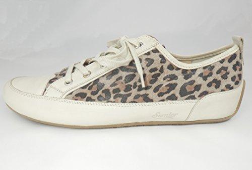 Semler - Zapatillas de Piel para mujer beige beige Leopardenmuster