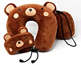OrcaFamilies Memory Foam Neck, Travel, Airplane Pillow for Kids | Teddy Bear Design