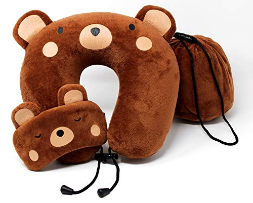 OrcaFamilies Memory Foam Neck, Travel, Airplane Pillow for Kids | Teddy Bear Design | Includes Eye Mask for Quality Sleep | for Children 4 and Up