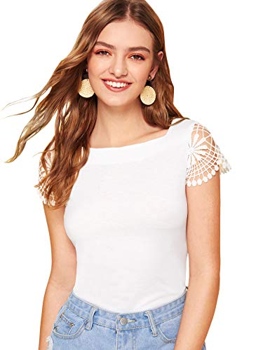 (WDIRARA Women's Casual Summer Square Neck Contrast Lace Cap Sleeve Top Tee White-1)