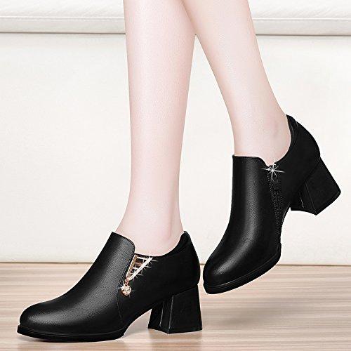KPHY-Damen 6 Cm High Heels Einzelne Grob Hacken Mutter Einzelne Heels Schuhe Mode Mitte Sohle  schwarz dc086f