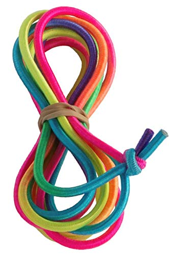 Chinese Jump Rope for Kids - Elastic Fitness Game - Knotted End - by B&D Supply (Rainbow, 8 Foot (Single))
